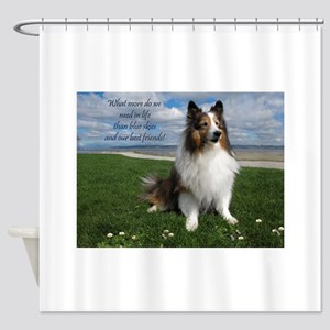 Blue skies and Best friends Shower Curtain