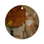 Happy Satanic Kitty Round Ornament