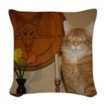 Happy Satanic Kitty Woven Throw Pillow