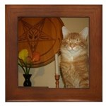Happy Satanic Kitty Framed Tile