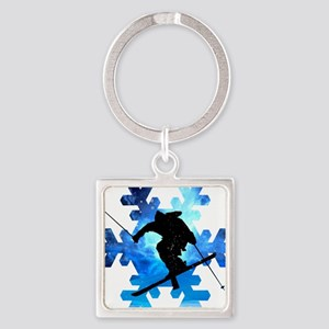 Winter Landscape Freestyle skier in Snow Keychains