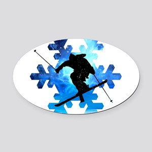 Winter Landscape Freestyle skier i Oval Car Magnet