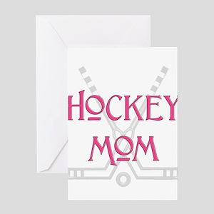 HockeyMomSticksPink Greeting Cards