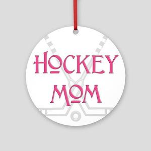 HockeyMomSticksPink Round Ornament
