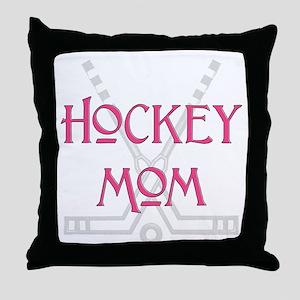 HockeyMomSticksPink Throw Pillow