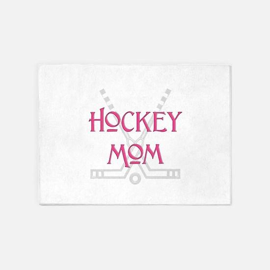 HockeyMomSticksPink.png 5'x7'Area Rug