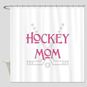HockeyMomSticksPink Shower Curtain