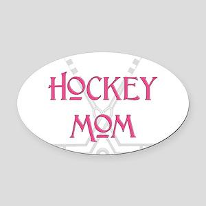 HockeyMomSticksPink Oval Car Magnet