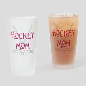 HockeyMomSticksPink Drinking Glass