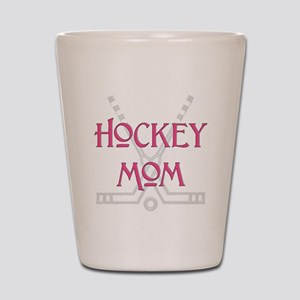 HockeyMomSticksPink Shot Glass