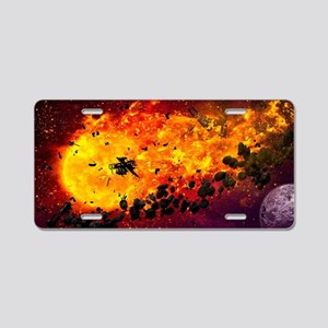 Burning Planet Aluminum License Plate
