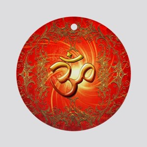 Om sign in gold,red Round Ornament