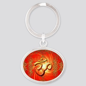 Om sign in gold,red Keychains