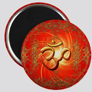 Om sign in gold,red Magnets