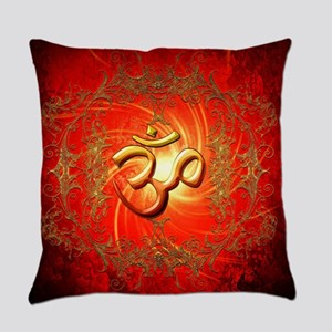 Om sign in gold,red Everyday Pillow
