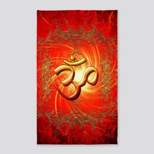 Om sign in gold,red Area Rug