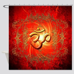 Om sign in gold,red Shower Curtain