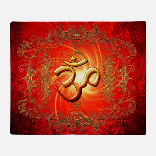 Om sign in gold,red Throw Blanket