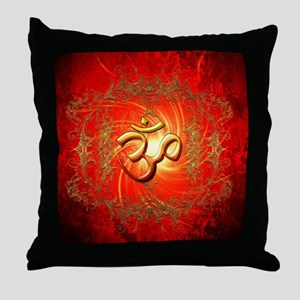 Om sign in gold,red Throw Pillow