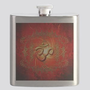 Om sign in gold,red Flask