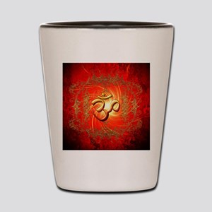 Om sign in gold,red Shot Glass