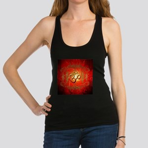 Om sign in gold,red Racerback Tank Top