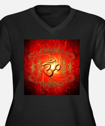 Om sign in gold,red Plus Size T-Shirt