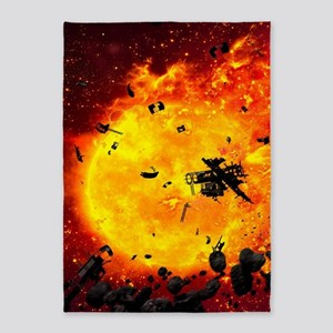 Burning Planet 5'x7'Area Rug