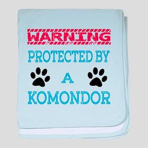 Warning Protected by a Komondor baby blanket