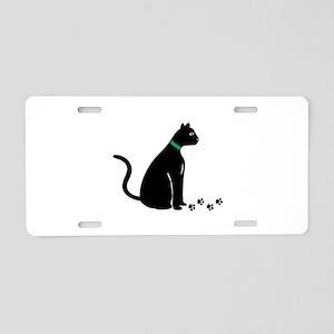 Black Cat Prints Aluminum License Plate