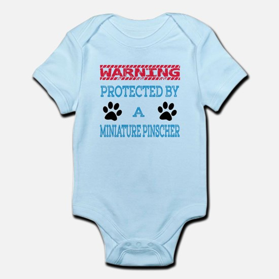Warning Protected by a Miniature P Infant Bodysuit