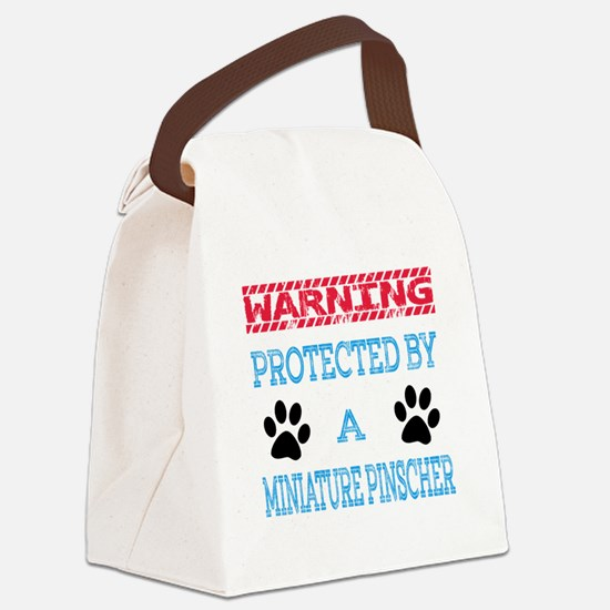 Warning Protected by a Miniature Canvas Lunch Bag