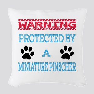 Warning Protected by a Miniatu Woven Throw Pillow