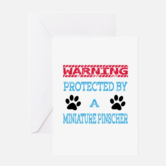 Warning Protected by a Miniature Pin Greeting Card