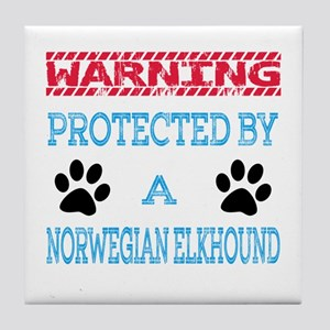 Warning Protected by a Norwegian Elkh Tile Coaster