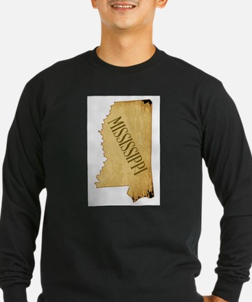 Parchment Background Mississip Long Sleeve T-Shirt