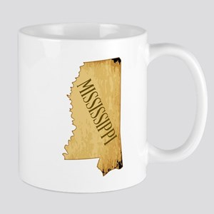 Parchment Background Mississippi Map Mugs