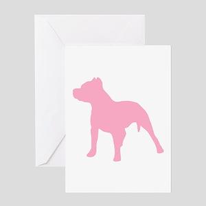 Pitbull Pink 1C Greeting Cards
