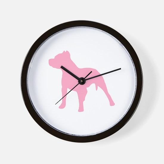 Pitbull Pink 1C Wall Clock