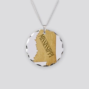 Parchment Background Mississ Necklace Circle Charm