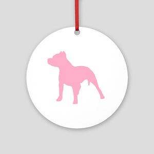 Pitbull Pink 2 Round Ornament