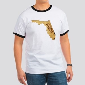Parchment Background With Florida Map T-Shirt