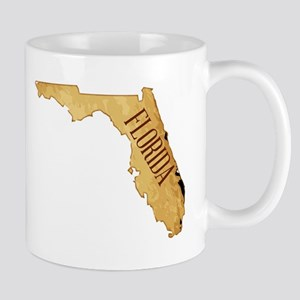 Parchment Background With Florida Map Mugs