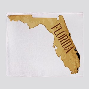 Parchment Background With Florida Ma Throw Blanket