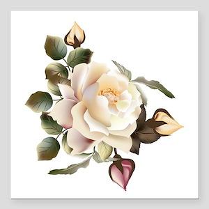 "Beautiful Victorian Rose Square Car Magnet 3"" x 3"""