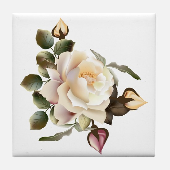 Beautiful Victorian Roses Tile Coaster