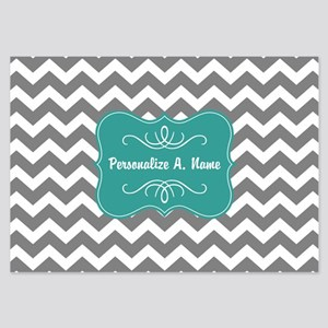 Gray and Teal Chevron Monogram 3.5 x 5 Flat Cards