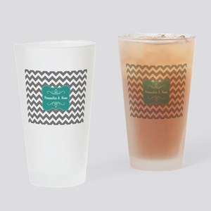 Gray and Teal Chevron Monogram Drinking Glass