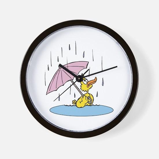 Ducky With Unbrella Wall Clock
