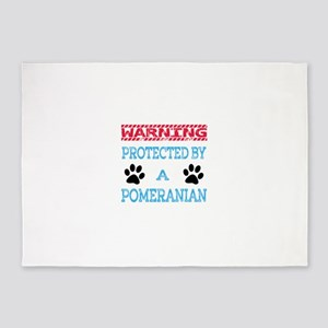 Warning Protected by a Pomeranian 5'x7'Area Rug